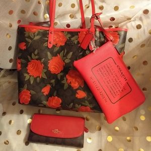 Coach reversible city tote, cosmetic bag, & wallet